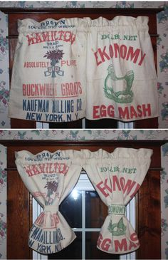 Curtains made from vintage feed sacks.
