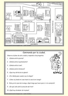 Directions and locations en español High School Spanish, Elementary Spanish, Spanish 1, Spanish Teacher, Spanish Classroom, Bilingual Classroom, Learn Spanish, Spanish Worksheets, Spanish Teaching Resources