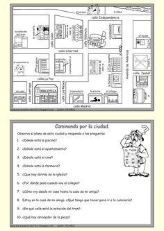 Me encanta escribir en español: Caminando por la ciudad (las preposiciones de lugar y / dar direcciones).