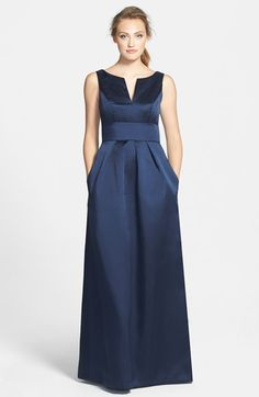 Alfred Sung Notched Neck Sateen Twill Gown available at #Nordstrom