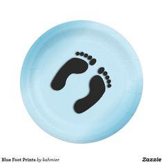 Blue Foot Prints Paper Plate