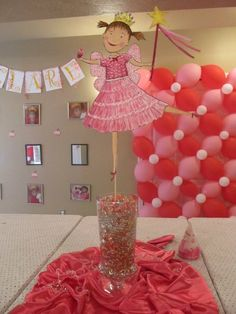 "Pinkalicious ""Over-the-top"" slumber party! I like the balloons in the back. They could be used in a game ."