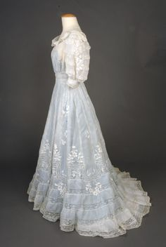 Embroidered Lace Tea Gown, c. 1905