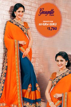 Orange and Blue #GeorgetteSaree One word is just wow for this beautiful #designerSaree in from the house of #Amafhh. This exquisite material has got embroidery and lace detailing and is truly a classic buy for special occasions. #womansari #shopping #ethnicwear #latestcollection #newdesigns #designersaree #onlineweddingwear #fashion #trending