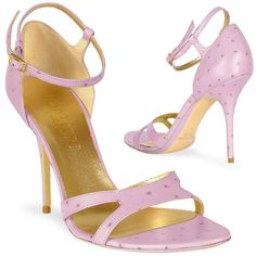 Lavender Ostrich Leather Ankle-strap Sandal Shoes by Forzieri