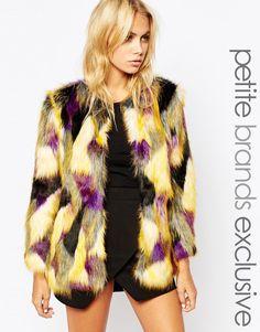 Tiger Mist Petite Patched Faux Fur Coat