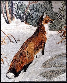 Wild Fox in Snow Mosaic Wall Art. Handcrafted from naturally colored marble tesserae, sanded, finished, and sealed. Install it as wall art or a mural. Mosaic Artwork, Mosaic Wall Art, Marble Mosaic, Stone Mosaic, Tile Art, Mosaic Glass, Mosaic Tiles, Mosaic Mirrors, Mosaic Windows