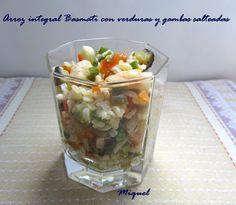 Les receptes del Miquel: Arroz integral basmati con verduras y gambas salteadas