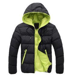 39359241973 Pánská moderní zimní bunda s kapucí ČERNÁ se zelenou – Sleva 70% a POŠTOVNÉ  ZDARMA