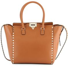 Valentino Rockstud Double-Handle Shoulder Tote Bag (3,420 CAD) ❤ liked on Polyvore featuring bags, handbags, tote bags, brown, zippered tote, brown tote bag, brown purse, valentino handbags and studded tote bag
