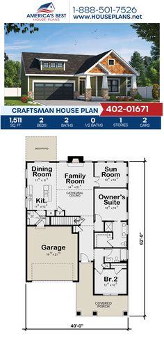 Plan 402-01671 delivers a Craftsman home design complete with 1,511 sq. ft., 2 bedrooms, 2 bathrooms, a kitchen island, an open floor plan, a sunroom, and a sitting room. #craftsmanstyle #onestoryhome #architecture #houseplans #housedesign #homedesign #homedesigns #architecturalplans #newconstruction #floorplans #dreamhome #dreamhouseplans #abhouseplans #besthouseplans #newhome #newhouse #homesweethome #buildingahome #buildahome #residentialplans #residentialhome Best House Plans, Dream House Plans, House Floor Plans, Craftsman Style Homes, Craftsman House Plans, One Story Homes, Private Garden, Architectural Elements, Open Floor
