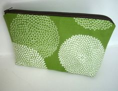 Padded Large Earth Green Leaf Zipper Pouch Cosmetic Bag by JPATPURSES, $18.00