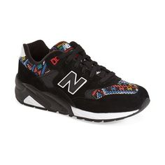 New Balance '580' Sneaker (2 330 UAH) found on Polyvore featuring shoes, sneakers, black, black rubber soled shoes, lace up sneakers, new balance, black lace up sneakers and kohl shoes