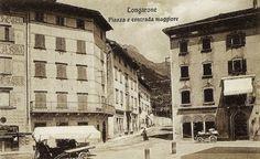 Piazza re Umberto, a Longarone (cartolina di Pompeo Breveglieri, del 1907)