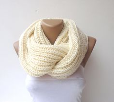 Items similar to Knit Scarf , Ivory color Knit Infinity Scarf Scarves Womens Accessories Mens Chunky Knit Scarf Cowl Scarf Winter Scarves Circle Scarf / gift on Etsy Loop Scarf, Circle Scarf, Scarf Knit, Men Scarf, Chunky Knit Scarves, Crochet Scarves, Crocheted Scarf, Knitting Scarves, Knit Crochet