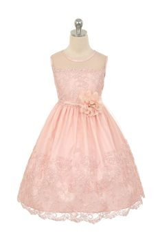 Blush Pink Embroidered Tulle Overlayed Flower Girl Dress with Illusion Neckline