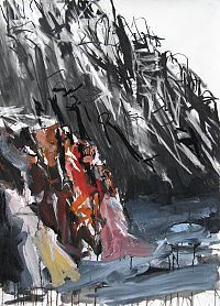 'Arkaroola Gorge I' Tim mixed media on paper, 110 x sold Tim Allen, Oil On Canvas, Landscape, Gallery, Paper, Artist, Painting, Artworks, Mixed Media