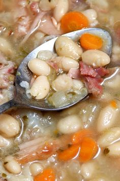 Old Fashioned Navy Bean Soup - Old-fashioned means starting with dried beans and. - Old Fashioned Navy Bean Soup – Old-fashioned means starting with dried beans and a ham bone. Ham Bone Bean Soup, Ham Hock Soup, Ham Hocks And Beans, Bean And Ham Soup, Navy Beans And Ham, Best Ham Bone Soup, Crockpot Navy Bean Soup, Soup With Ham Bone, Crockpot Ham And Beans