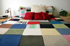 Upcycled Felted Patchwork Sweater Quilt
