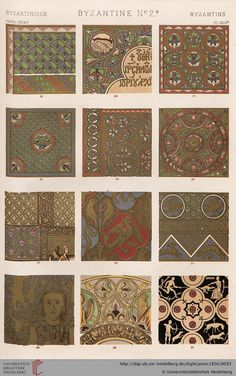 Tafel XXIXa Byzantine Plate (1 of 4). Owen Jones, The Grammar of Ornament. Thanks to the University of Heidelberg digital library.