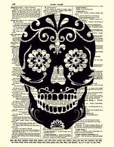 Sugar Skull Dictionary Art Print Black Sugar Skull, Dictionary Art Print, Wall Decor, Mixed Media, Mexican Skull