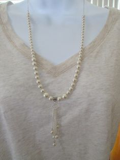 Pearl Chain Drop Bead Necklace by BeadedDesignsJacquie on Etsy, $16.00