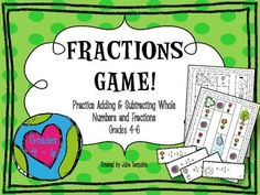 Students have fun and practice some math at the same time!   Students practice adding and subtracting fractions with whole numbers and uncommon denominators! Work is checked by having the entire group work on the math problem and students check each other's work.   You will need a dice and space holders such as coins or cubes. SAVE ON INK with the Black and White version that is also included!  *ANSWER KEY INCLUDED*  Enjoy and please rate!