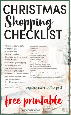 Shopping for Christmas can be, overwhelming. And it's easy to forget some of the holiday shopping. That's why I've compiled a free Christmas shopping list printable so you can spend less time shopping. Some of the items included are Grocery list, food an Christmas Food List, Christmas Tree Scent, Christmas Shopping List, Christmas Door Wreaths, Christmas Planning, Christmas Bows, Christmas Ideas, Christmas Budget, Christmas Decorations