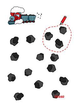 Groepjes van drie kolen maken - trein - tellen