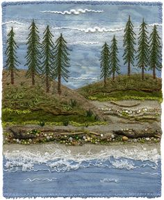 """5 ½"""" x 7"""" 12"""" x 15"""" framed A series of seashore landscapes.  Each one is slightly different.  In celebration of the beauty of the Canadian West Coast.  The background fabrics are secured with sewing and details are added with embroidery, beading, couching yarns and free-motion machine embroidery. SOLD www.chursinoff.com/kirsten/"""