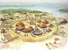 Reconstruction drawing of an early monastery of Dubhlinn (black pool) before the arrival of the Vikings in 841 AD.