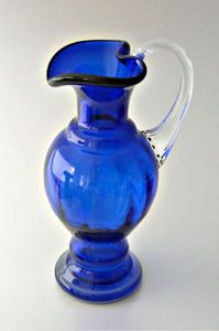 Cobalt Blue Cased Glass Pitcher - this is so gorgeous. I think I will put it in my collections board and my wish list. LOL