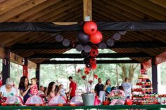 Full pavilion and tablescape view Kaliana's 1st Ladybug Birthday | CatchMyParty.com