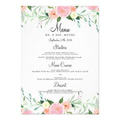 Watercolor Wedding Menus Sweet Watercolor Pink Peach Wedding Dinner Menu Card