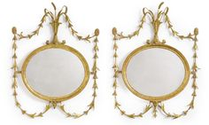 A pair of George III giltwood oval mirrors circa 1780 | Lot | Sotheby's