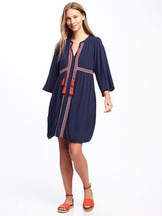 Embroidered Tie-Front Swing Dress for Women