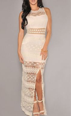 $32.99 Cream Crochet Accent Lace Evening Dress - Stella La Moda