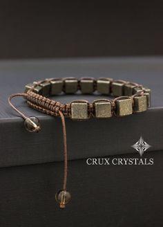 Fools Gold, Pyrite Cube Shaped Beaded Mens Bracelet Gemstone Shamballa Energy Bracelet Christmas Gift for Him Wrap Bracelet Men's Macrame http://www.thesterlingsilver.com/product/bling-jewelry-mens-925-sterling-silver-oval-disc-modern-cufflinks/