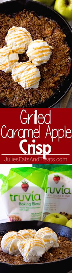 Grilled Caramel Apple Crisp ~ Enjoy Your Favorite Dessert on the Grill! Tender, Juicy Apples with Caramel Topped with Butter, Oatmeal and Ice Cream! via (Favorite Desserts Awesome) Quick Apple Dessert, Apple Dessert Recipes, Homemade Desserts, Apple Recipes, Just Desserts, Baking Recipes, Delicious Desserts, Yummy Food, Yummy Eats