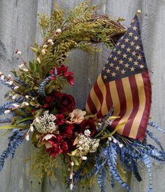 Americana Countryside Meadow Wreath with Tea Stained Flag by NewEnglandWreath