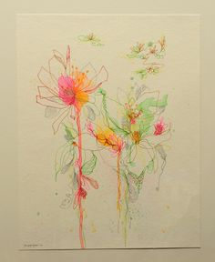 SALE Blossoms Series 49 original watercolor mix media by siiso, $120.00