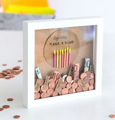 Picture frame money box white money gift with 3 interchangeable motifs for travel . - Photo frame money box White money gift with 3 interchangeable motifs for travel birthday and weddin - Homemade Birthday Gifts, Diy Birthday, Birthday Presents, Birthday Cards, Birthday Money, Creative Money Gifts, Diy Crafts To Do, Money Box, Gift Money