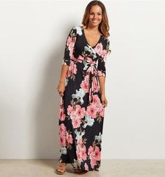 "TALL BLACK /& WHITE DAMASK /"" HARMONY /"" BOHO TANK MAXI DRESS with POCKETS S M L XL"