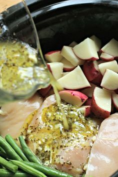 Seasoned Chicken, Potatoes and Green Beans