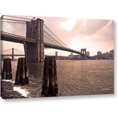 Linda Parker Brooklyn Bridge At Sunset Gallery-Wrapped Canvas, Size: 16 x 24, Silver