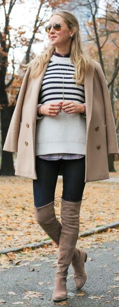 Tendance Chaussures Camel Suede Over-the-knee Boots