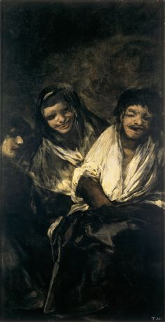 "Francisco de Goya: ""Dos mujeres y un hombre"" (Man Mocked by Two Women). 125 x 66 cm. Pinturas negras (Black Paintings), 1820-1823. Museo del Prado, Madrid, Spain"