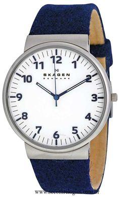 Relógio Skagen Masculino Casual SKW6098/Z Linha de relógio masculino casual com pulseira de couro  Características do Relógio: Relógio masculino modelo Slim (fino) com pulseira de couro Relógio com mostrador branco Vidro de cristal mineral Resistente a água 5 ATM