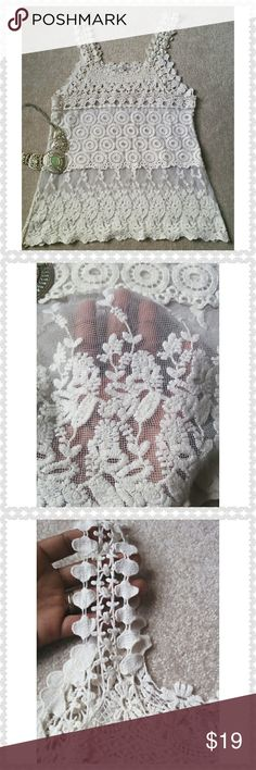"""*ISSI Lace Tank Top* *Excellent Condition!! The details are gorgeous!! Length: 25.5"""", Pit-to-Pit: 15.5"""". Fabric and size tag have been removed. Ask any questions. Happy Poshing!!* ISSI Tops Tank Tops"""
