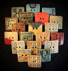 Ceramic Buttons: Square, yes Square porcelain buttons, handmade in California. vika.etsy.com